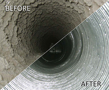 air duct cleaning before and after shot